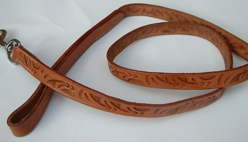 Dog Lead Leather Embossed
